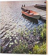 Rowboat At Lake Shore At Sunrise Wood Print