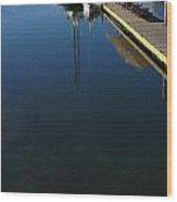 Rowboat On Navy Blue Wood Print