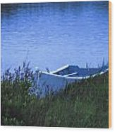 Rowboat In Grass Wood Print