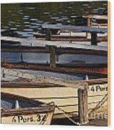 Rowboats At A Lake Wood Print