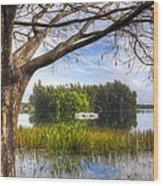 Rowboats At The Lake Wood Print
