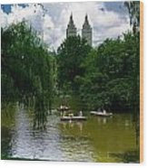 Rowboats Central Park New York Wood Print
