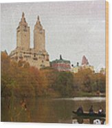 Rowers In Central Park Wood Print