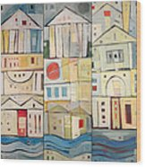 Rowhouses Triptych Wood Print