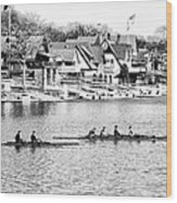 Rowing Along The Schuylkill River In Black And White Wood Print