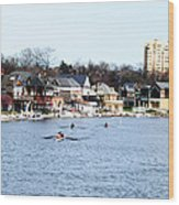 Rowing At Boathouse Row Wood Print