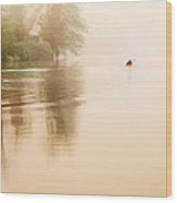Rowing In The Mist Wood Print