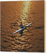 Rowing Into The Sunset Wood Print