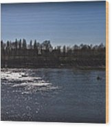 Rowing On Thames In Autumn Wood Print