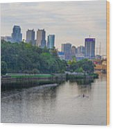 Rowing On The Schuylkill Riverwith Philadelphia Cityscape In Vie Wood Print