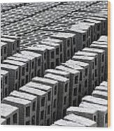 Rows Of Concrete Bricks Drying Wood Print