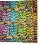 Rows Of Flip-flops Key West - Square - Hdr Style Wood Print