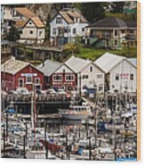 Rows Of Houses And Sails Wood Print