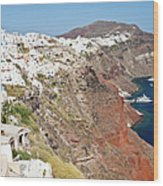 Rows Of Houses Perch On Cliff In Oia Wood Print