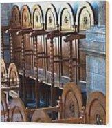 Rows Of Prayers Chairs Wood Print