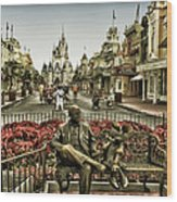 Roy And Minnie Mouse Antique Style Walt Disney World Wood Print