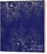 Royal Blue Frost Fractal Wood Print