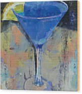 Royal Blue Martini Wood Print