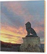 Royal Loin Statue Wood Print