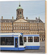 Royal Palace And Trams In Amsterdam Wood Print