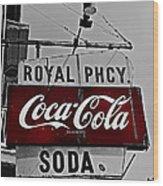 Royal Pharmacy Soda Wood Print by Andy Crawford