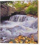 Royal River White Waterfall Wood Print