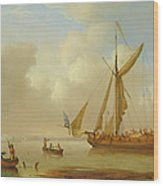 Royal Yacht Becalmed At Anchor Wood Print