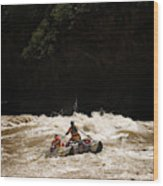 Rubber Raft Running Rapids Wood Print