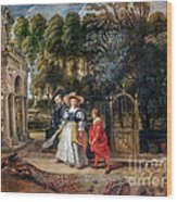 Rubens In His Garden With Helena Fourment Wood Print