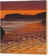 Ruby Beach Afterglow Wood Print