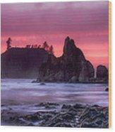 Ruby Beach Last Light Wood Print