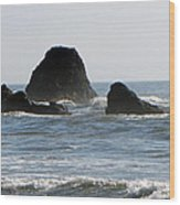 Ruby Beach Sea Stack Wood Print