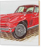 Ruby Red 1966 Corvette Stingray Fastback Wood Print