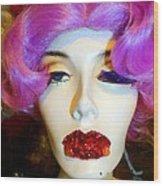 Ruby Red Lips Wood Print