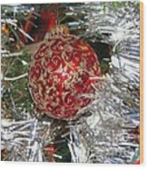Ruby Red Ornament Wood Print