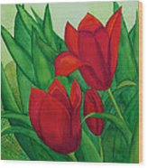 Ruby Red Tulips Wood Print