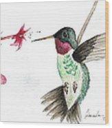 Ruby Throated Hummingbird Wood Print by Brenda Ruark