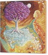 Ruby Tree Spirit Wood Print by Valerie Graniou-Cook