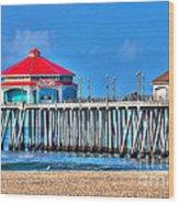 Ruby's Surf City Diner - Huntington Beach Pier Wood Print