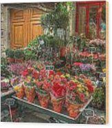 Rue Cler Flower Shop Wood Print