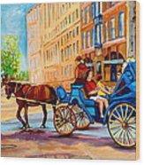Rue Notre Dame Caleche Ride Wood Print