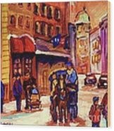 Rue St. Paul Old Montreal Streetscene In Winter Wood Print
