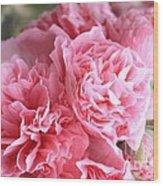 Ruffly Pink Hollyhock Wood Print