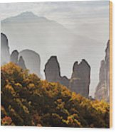 Rugged Cliffs And A Monastery  Meteora Wood Print