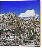 Rugged Cliffside Village Digital Painting Wood Print