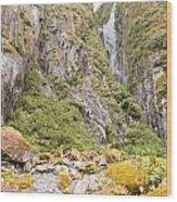 Rugged Mountain Wilderness Vegetation Wood Print