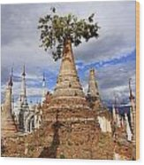 Ruined Pagodas At Shwe Inn Thein Paya Wood Print