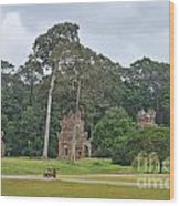 Ruins And Tourists At Angkor Wat Wood Print