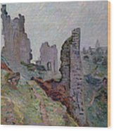 Ruins In The Fog At Crozant Wood Print by Jean Baptiste Armand Guillaumin