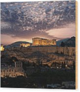 Ruins Of A Temple, Athens, Attica Wood Print